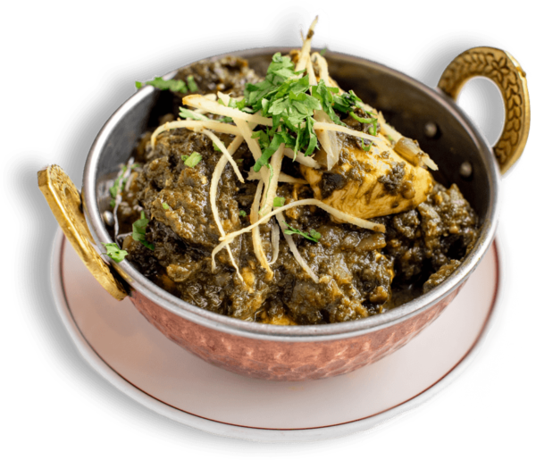 Chicken Saag Indian Food - White Chicken Meat Cooked In Spinach